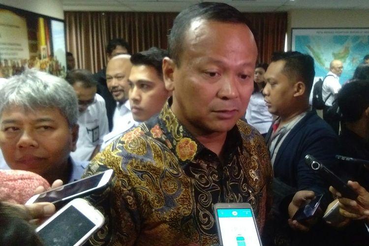 Menteri Kelautan dan Perikanan, Edhy Prabowo ditemui usai rapat koordinasi di Kantor Kemenko Maritim dan Investasi, Jakarta, Kamis (12/12/2019).