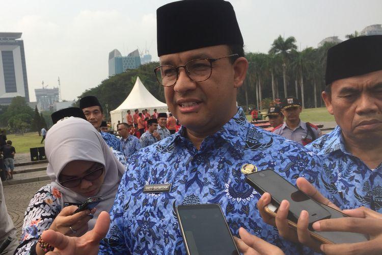 Gubernur DKI Jakarta, Anies Baswedan di Monas, Jakarta Pusat, Senin (28/10/2019).