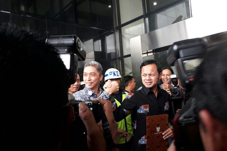 Bakal calon wali kota Bogor dan bakal calon wakil wali kota Bogor, Bima Arya dan Dedie A Rachmi mendatangi kantor Komisi Pemberantasan Korupsi (KPK), Jumat (19/1/2018).