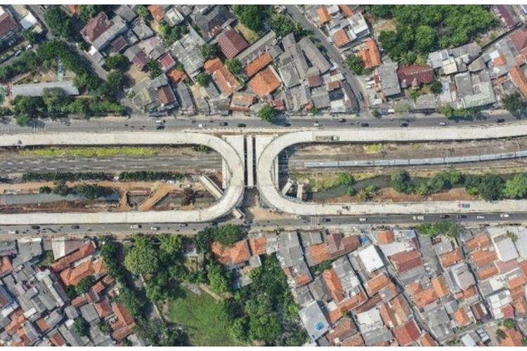 Foto udara Flyover Lenteng Agung yang dijadikan rujukan pendataan oleh Kelurahan Lenteng Agung, Jagakarta, Jakarta.