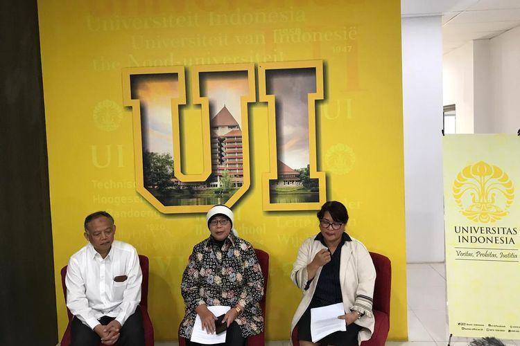 Wakil Rektor Bidang Sumber Daya Manusia dan Aset Universitas Indonesia, Muhammad Luthfi (kiri); Sekretaris Universitas Indonesia, Agustin Kusumayati; dan Kepala Humas dan KIP Universitas Indonesia, Amelita Lusia.
