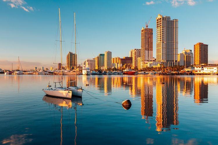 Ilustrasi Filipina - Pemandangan Manila Bay.