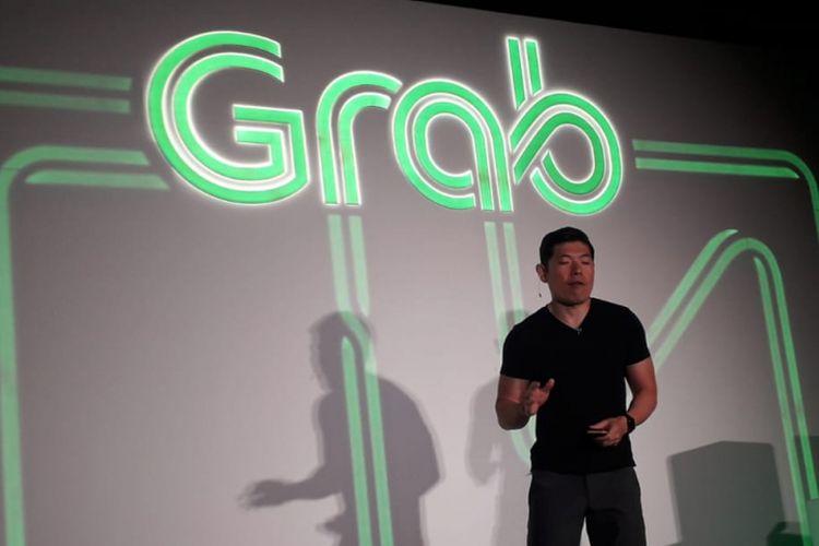 Group CEO & Co-founder Grab Anthony Tan memperkenalkan layanan baru GrabFresh dalam konferensi pers di MarinaOne, Singapura, Selasa (10/7/2018).