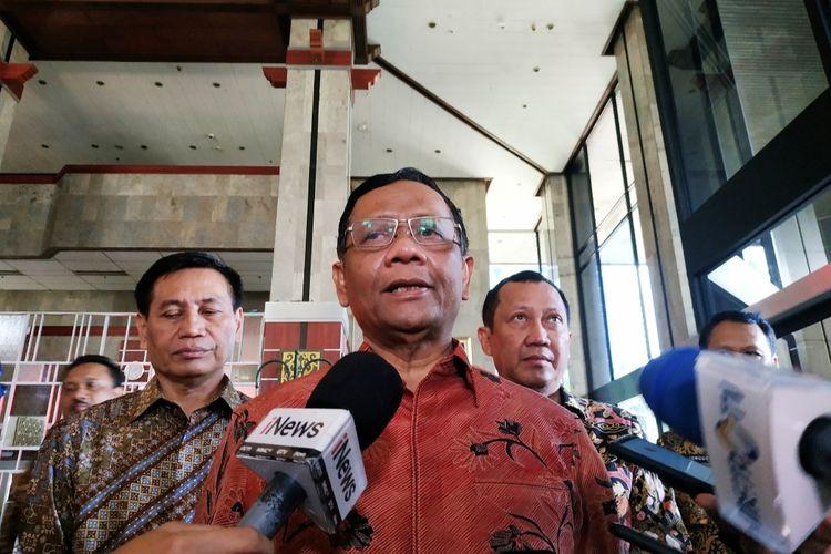 Menko Polhukam Mahfud MD di Kantor Kemenkumham, Kuningan, Jakarta Selatan, Jumat (6/3/2020).
