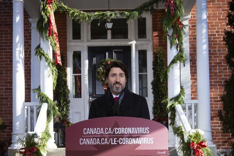 Perdana Menteri Kanada Justin Trudeau berbicara selama briefing Covid-19 di Rideau Cottage di Ottawa, Ontario, pada 18 Desember 2020.