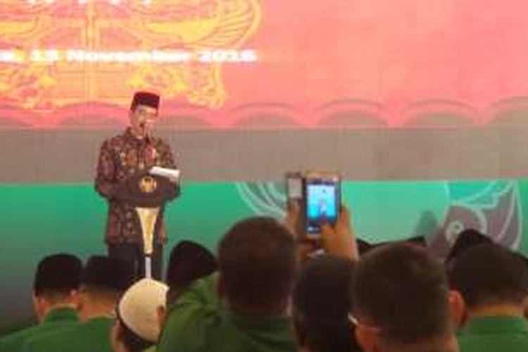 Presiden Joko Widodo saat menghadiri Mukernas Alim Ulama PPP di asrama Haji Pondok Gede Jakarta Timur.