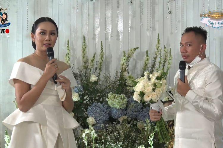 Tangkapan layar Dapur Bincang Online mengenai lamaran Vicky Prasetyo dan Kalina Ocktaranny