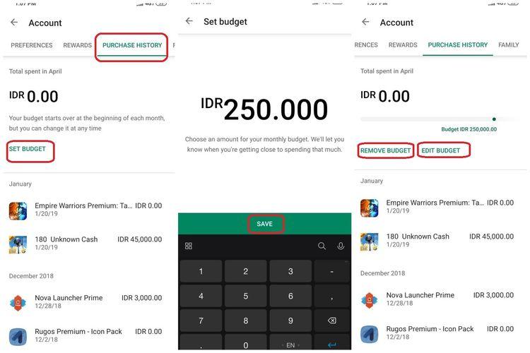 Ilustrasi langkah kedua membatasi anggaran pada Play Store