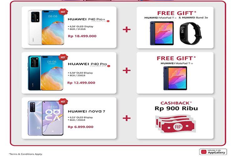 Untuk mendapatkan penawaran menarik pada promo spesial ini, konsumen dapat mendatangi langsung Huawei High-end Experience Store di Jakarta, Serpong, Bandung, Medan, dan Surabaya.