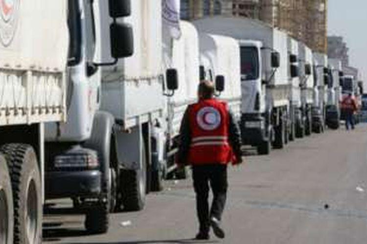 Konvoi bantuan dari Bulan Sabit Merah menunggu di Damaskus untuk menujuk Madaya dan Zabadani.