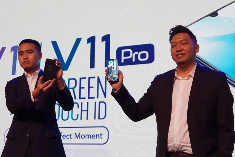 Kiri-kanan: James Wei, CEO Vivo Indonesia dan Yoga Samiaji, Senior Product Manager Vivo Indonesia dalam acara peluncuran Vivo V11 di Jakarta, Rabu (12/9/2018).