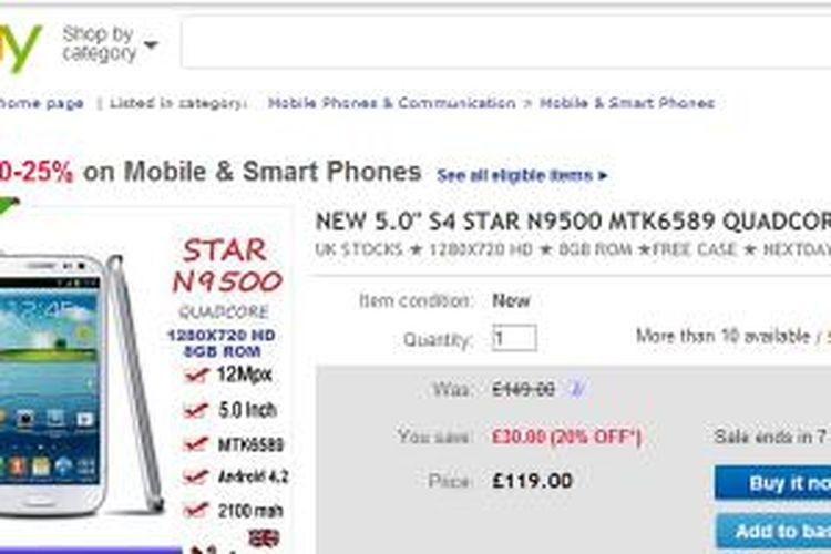 Star N9500, smartphone Android yng diduga memiliki malware dari pabrik pembuatnya