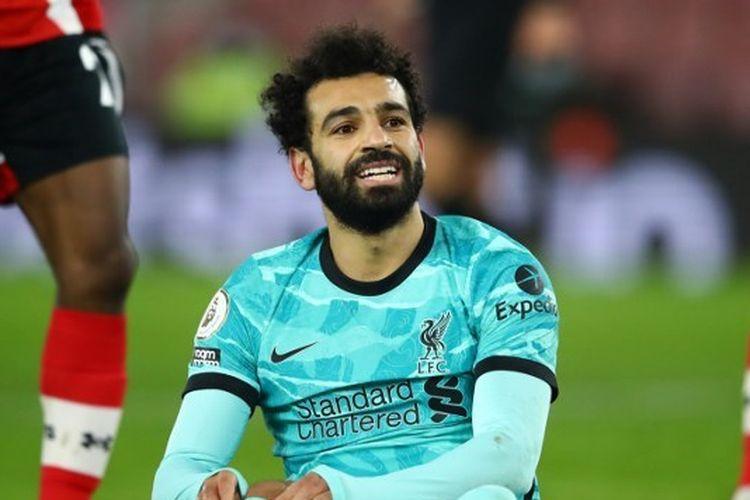 Ekspresi Mohamed Salah pada laga pekan ke-17 Liga Inggris yang mempertemukan Southampton vs Liverpool di Stadion St. Marys, Selasa (5/1/2021) dini hari WIB.