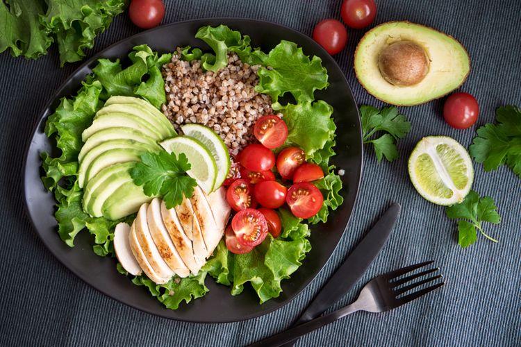 Ilustrasi makanan diet, pola makan seimbang.