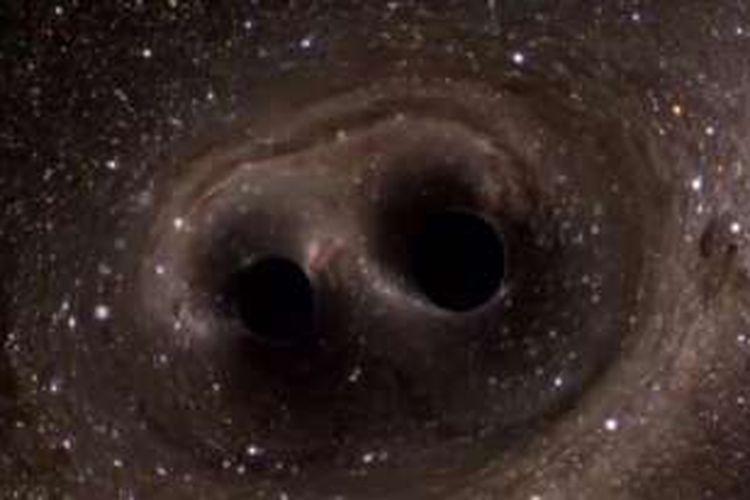 Dua lubang hitam yang berada pada jarak 1,3 miliar tahun cahaya menjadi satu, menghasilkan gelombang gravitasi yang terdeteksi instrumen LIGO. Gelombang gravitasi itu membuktikan kebenaran teori Einstein.