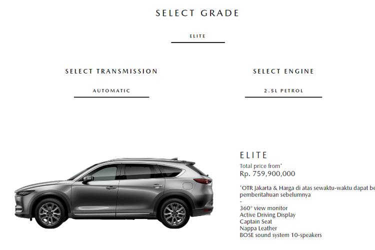 Kini PT EMI hanya memasarkan varian Elite untuk Mazda CX-8 di Indonesia