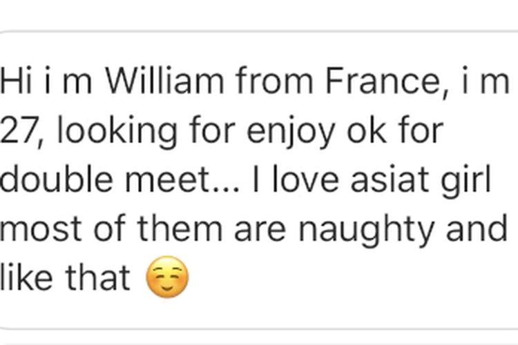 Sharon Jiang menerima pesan ini di akun Instagram-nya.