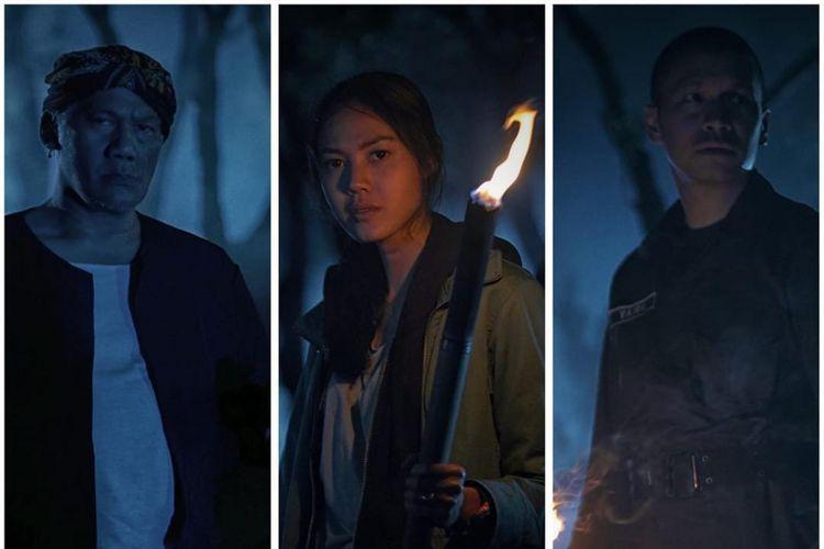 (Dari kiri) Tio Pakusadewo, Della Dartyan, dan Samuel Rizal dalam poster film Pocong The Origin.