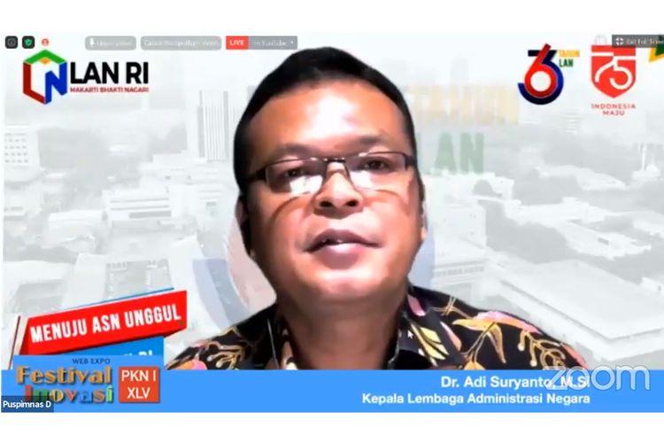 Adi Suryanto dalam pembukaan acara Web Expo Festival Inovasi Pelatihan Kepemimpinan Nasional (PKN) Tingkat I Angkatan XLV tahun 2020 yang diselenggarakan secara virtual, Selasa (15/9/2020).