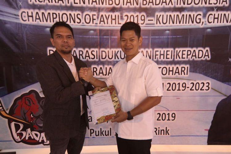 Raja Sapta Oktohari mendapatkan dukungan dari Federasi Hoki Es Indonesia sebagai calon Ketua Umum Komite Olimpiade Indonesia (KOI)