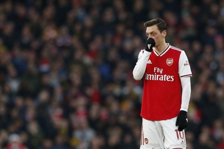 Mesut Oezil pada laga pekan ke-20 Liga Inggris antara Arsenal vs Chelsea di Stadion Emirates, Minggu 29 Desember 2019.