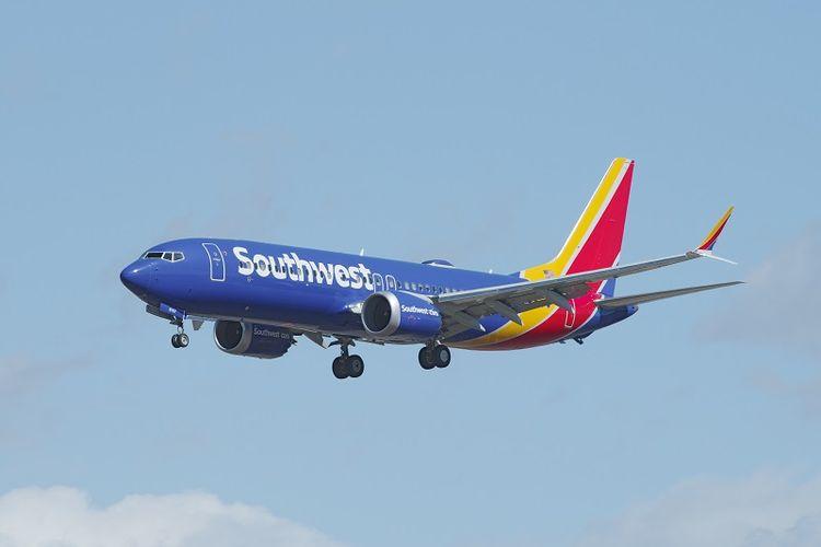 Sebuah Boeing 737 Max 8 milik maskapai penerbangan Southwest Airlines.