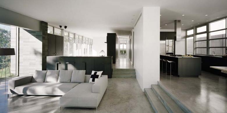 Ruang tamu modern minimalis tak lagi terkesan dingin dan kaku berkat penambahan oranem-ornamen pengalih perhatian.