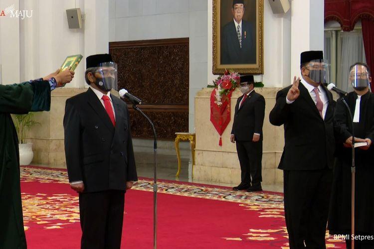 Foto tangkapan layar pelantikan Menteri dan Wakil Menteri baru Kabinet Indonesia Maju di Istana Negara, Jakarta, Rabu (23/12/2020).