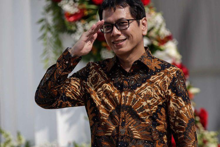 Menteri Pariwisata dan Ekonomi Kreatif, Wishnutama sebelum pelantikan menteri-menteri Kabinet Indonesia Maju di Istana Negara, Jakarta, Rabu (23/10/2019). Presiden RI Joko Widodo mengumumkan dan melantik Menteri-menteri Kabinet Indonesia Maju serta pejabat setingkat menteri.