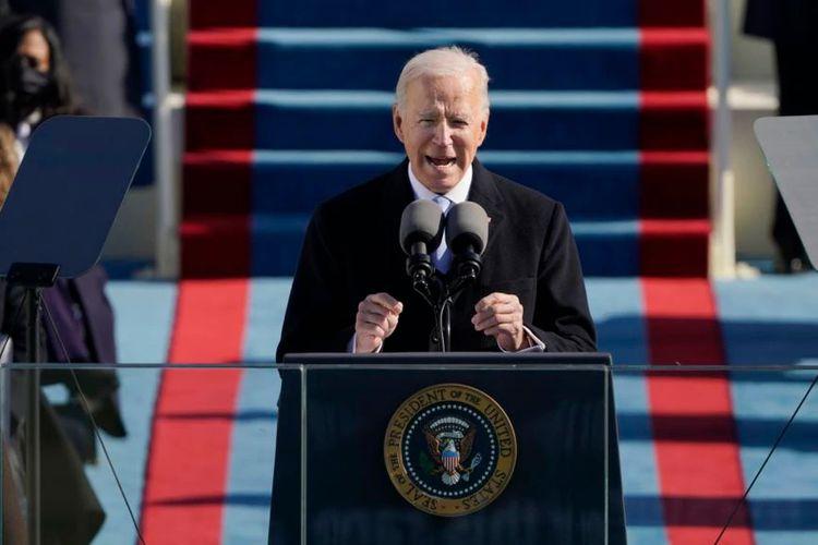 Presiden AS Joe Biden berpidato pada upacara pelantikannya di Gedung Capitol, Washington DC, Rabu (20/1/2021).