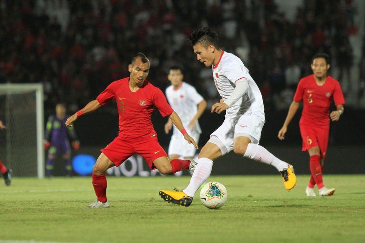 Pertandingan antara Indonesia vs Vietnam berlangsung di Stadion Kapten I Wayan Dipta, Giantar, Bali, Selasa (15/10/2019) malam.