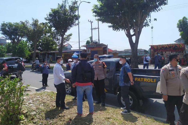 Satreskrim Polresta Bandar Lampung melakukan olah TKP di lokasi dugaan penembakan yang dialami anggota TNI di Way Halim, Bandar Lampung.