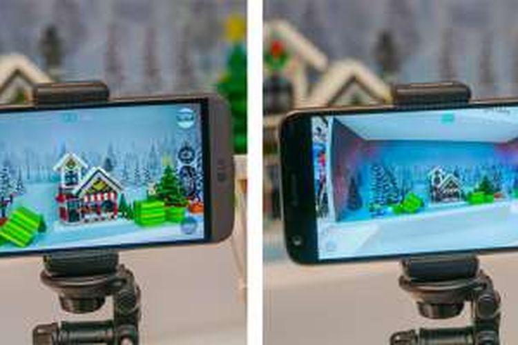 Perbedaan cakupan sudut pandang lensa normal (kiri) dan lensa wide pada kamera LG G5. Lensa wide tampak menghasilkan barrel distortion yang cukup besar sehingga tampilan gambar terlihat mirip dengan lensa fisheye.