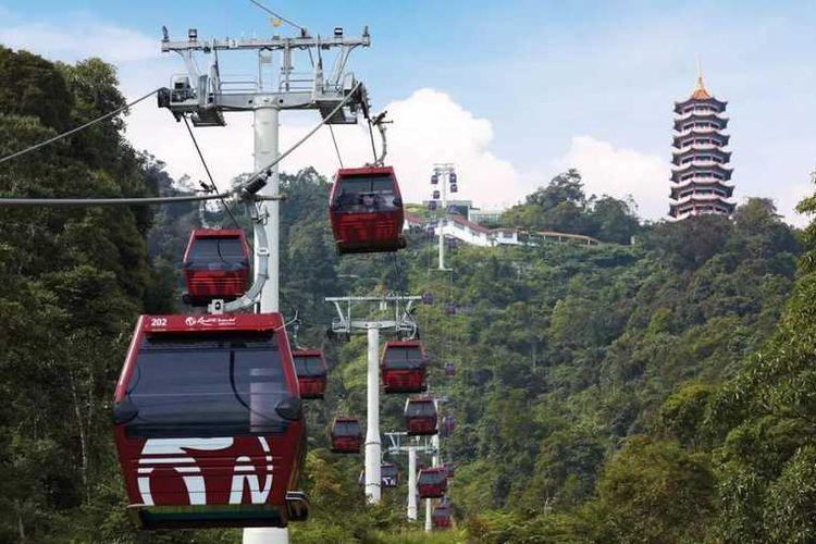 Ilustrasi cabble car di kawasan Highland Malaysia