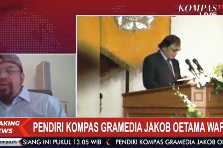 Ninok Leksono (kiri) saat diwawancarai Kompas TV terkait meninggalnya Jakob Oetama.
