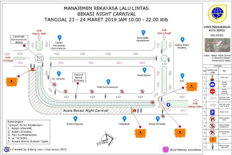 Rute rekayasa lalu lintas saat Bekasi Night Carnival berlangsung pada 23-24 Maret 2019 di Jalan Boulevard Selatan, Kawasan Summarecon Bekasi, Kota Bekasi, Jumat (22/3/2019).