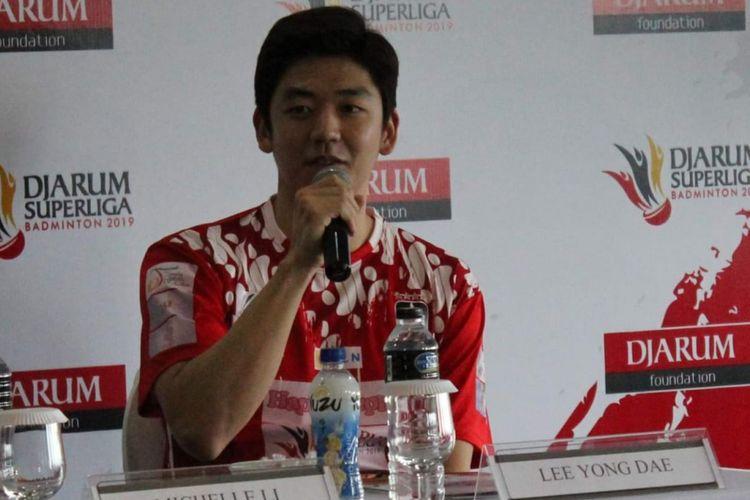 Pebulu tangkis asal Korea Selatan, Lee Yong-dae, menghadiri konferensi pers Djarum Superliga Badminton 2019, di Hotel Intercontinental, Bandung, Jawa Barat, Minggu (17/2/2019).