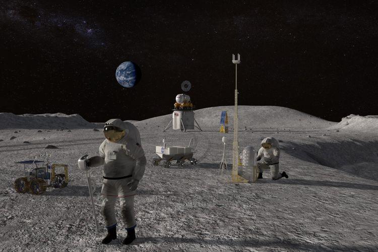Ilustrasi astronot lakukan misi di permukaan Bulan.