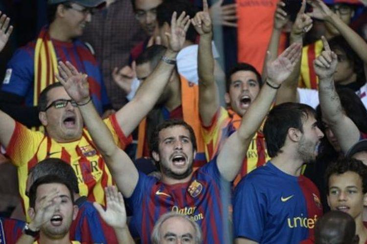 Para suporter klub sepak bola Spanyol, Barcelona.