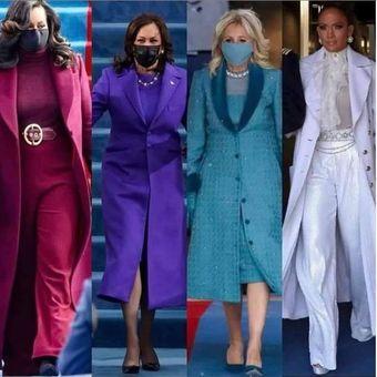 Busana yang dipakai Michelle Obama, Kamala Harris, Jill Biden, dan Jennifer Lopez saat pelantikan Presiden AS Joe Biden