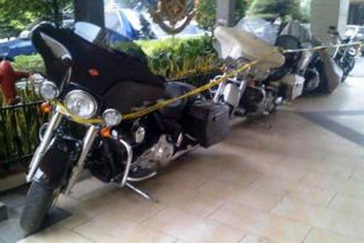 Harley Davidson tipe FLHX milik pejabat Direktorat Bea dan Cukai Langen Projo disita Bareskrim Polri, Jumat (7/2/2014).