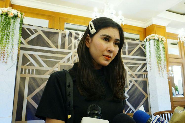 Artis peran Syahnaz Shadiqah saat ditemui di kawasan Gondangdia, Jakarta Pusat, Rabu (3/4/2019).