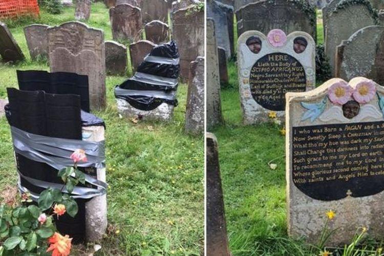 Batu nisan di kuburan Scipio Africanus, pria Afrika korban perbudakan yang tinggal di Bristol, Inggris, pada abad 18, dirusak sekelompok orang saat demo rasisme.