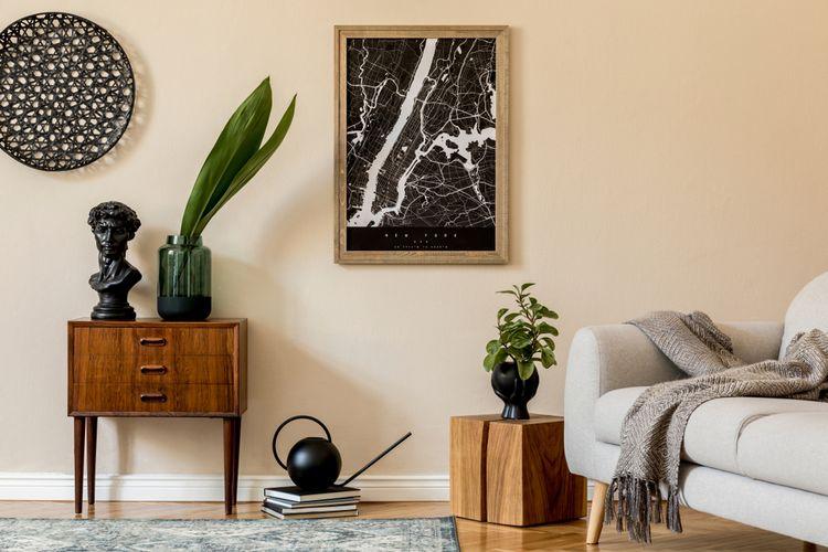 Ilustrasi Japandi, dekorasi yang mempertemukan desain Jepang dan gaya minimalis Skandinavia.