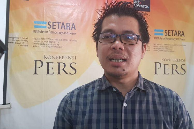 Direktur Eksekutif Setara Institute Ismail Hasani saat ditemui di kantornya, Jalan Hang Leiku II, Kebayoran Baru, Jakarta Selatan, Minggu (18/8/2019).