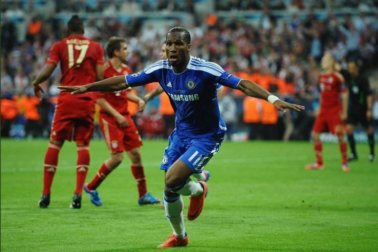 Didier Drogba pada final Liga Champions 2011-2012 antara Chelsea dan Bayern Muenchen.