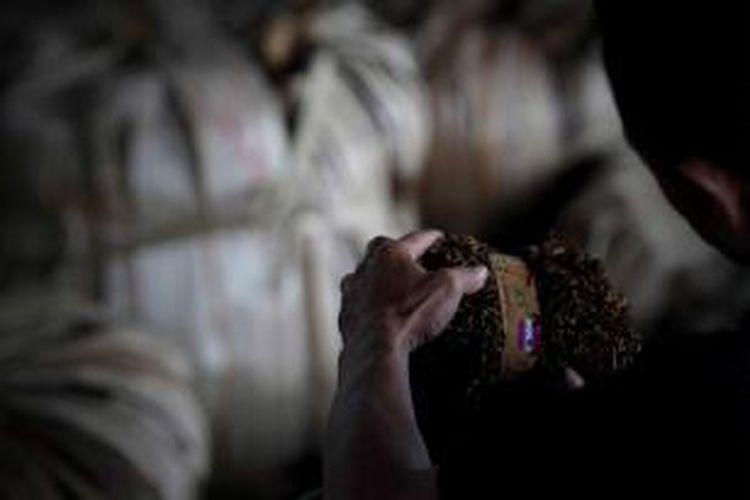 Pekerja memeriksa sampel tembakau di gudang Pabrik Rokok Gudang Garam di Desa Pare, Kecamatan Bulu, Temanggung, Jawa Tengah, Selasa (21/9/2010).