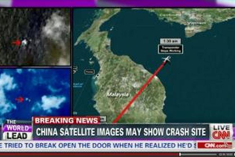 Citra satelit yang diduga merupakan puing pesawat Malaysia Airlines yang hilang sejak Sabtu (8/3/2014). Citra disebutkan terekam pada Minggu (9/3/2014) pagi tetapi baru dipublikasikan pada Rabu (12/3/2014).