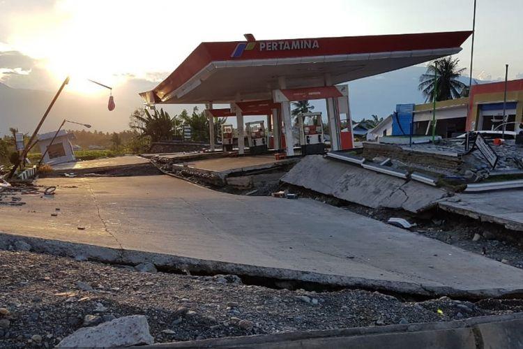 Kerusakan kontur tanah akibat gempa di Palu akhir September 2018.