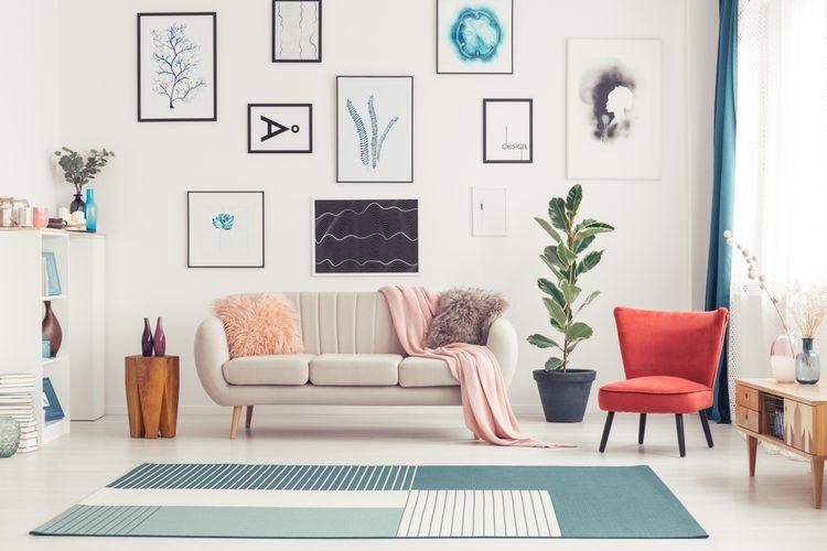 Ilustrasi ruang keluarga bergaya minimalis.